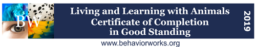 Living and learning with animals certificate of completion in good standing 2019